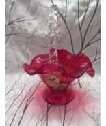 "FENTON ART GLASS 2006 ""GILDED HARVEST"" ON RUBY  BASKET SIGNED FRANCES BURTON - $125.00"