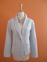 Talbots Size 10 Baby Blue & White Stripe Cotton Career Jacket Blazer - $39.48