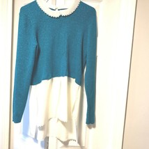 Elle Womens Sz M Lagen Look Aqua Sparkle Layered Sweater lace Collar and... - $12.96