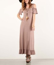 Pretty Tan Ruffle Cutout Maxi Dress Size Small New Unworn - $14.99