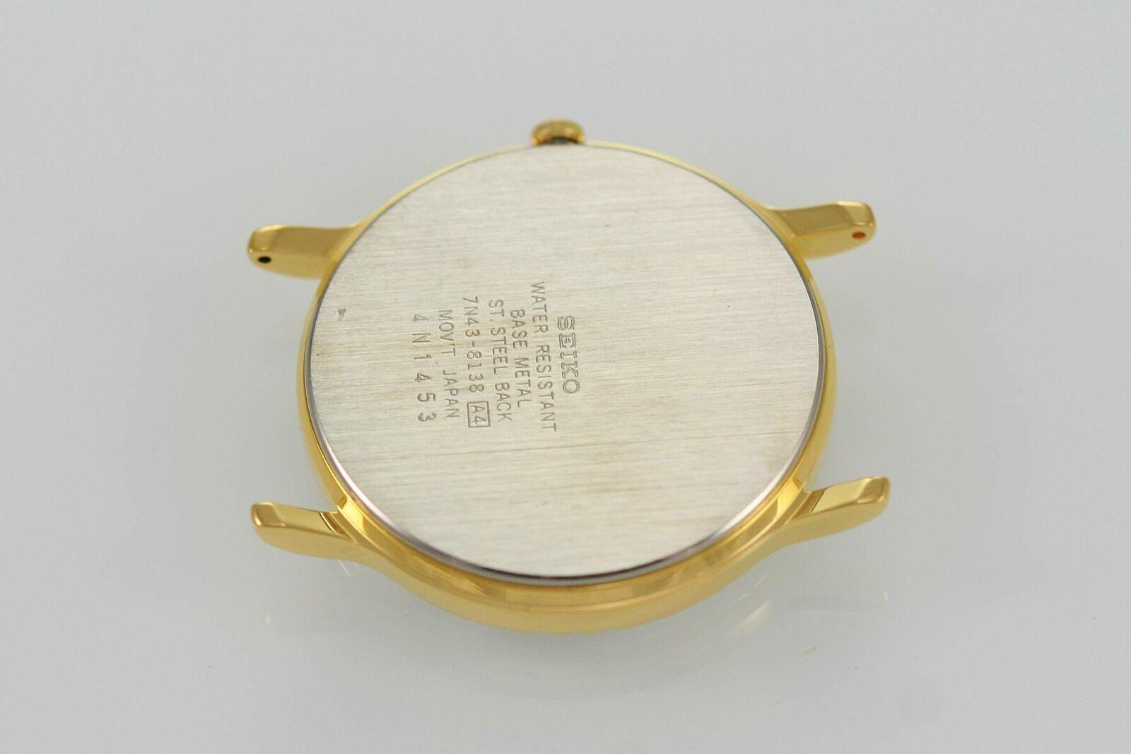 Brand New Seiko Men?s Quartz Gold Watch Case Stainless 7N43 MVT