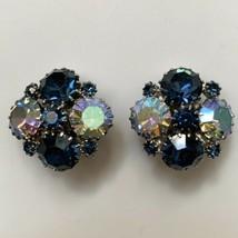Weiss Sapphire Blue Tone Aurora Borealis Rhinestone Cluster Clip On Earr... - $27.67