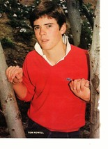 C Thomas Howell teen magazine pinup clipping red sweater by a tree confused Bop