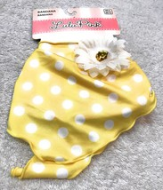 Dog Bandana Size M/L Yellow With White Color Daisy Pattern Polka Dots - $8.33