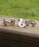Citrine Orange Crystal and S Swirl Adjustable Ring and Earrings Set - $10.00