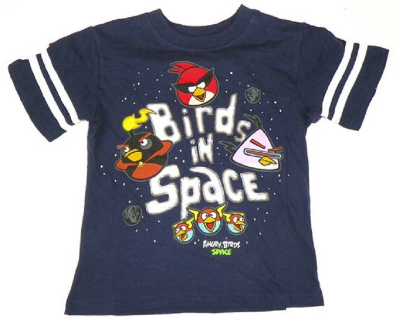 Boy's 8-20 Angry Birds in Space Shirt Sleeve Stripe Youth Tee T-Shirt NEW