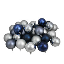 """32ct Blue/Silver/Pewter Gray Shatterproof Christmas Ornaments 3.25"""" - $67.95"""