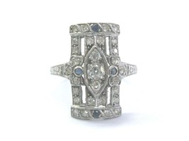 Platinum Vintage Old European Cut Diamond Sapphire Jewelry Ring .55Ct - $1,930.50