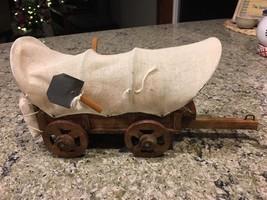 "Vtg Wooden Canvas Western Cowboy Covered Wagon 6""x10"" Decor bx40 - $23.80"