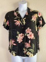 Caribbean Joe Womens Size L Black Tropical Floral Button Up Shirt Short ... - $15.84