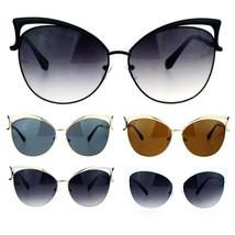 SA106 Womens Metal Lightening Bolt Eyebrow Cat Eye Sunglasses - $12.95