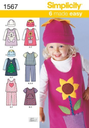 Primary image for SIMPLICITY 1567 A TODDLERS' GIRL JUMPER OR TOP, PANTS, KNIT TOP & HAT (SIZE 1/2