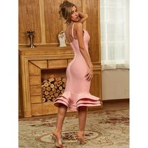 Sexy Solid Pink Fluted Bandage Deep V Party Dress image 3