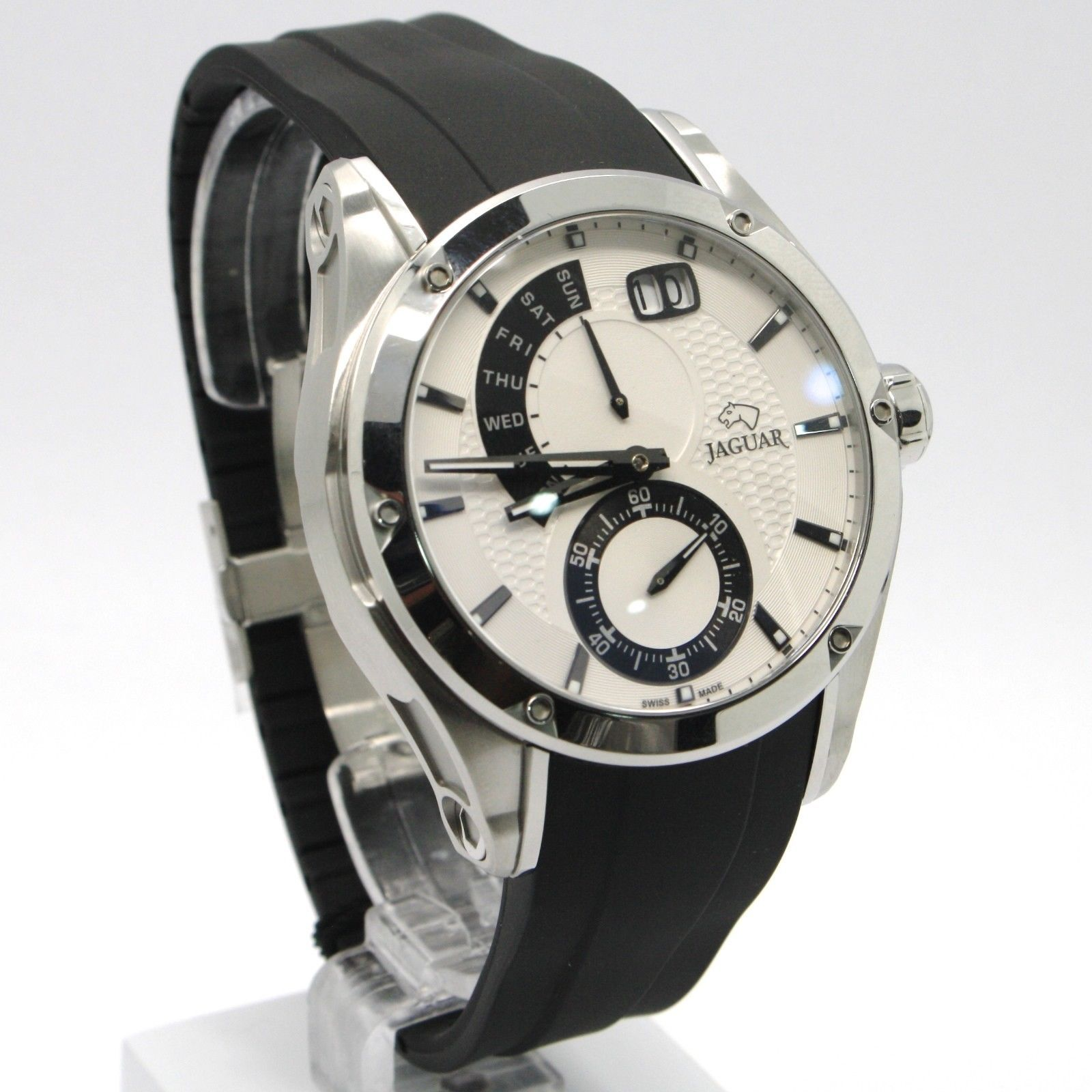 JAGUAR WATCH, SWISS MADE, SAPPHIRE CRYSTAL, 44 MM WHITE CASE, BLACK RUBBER BAND