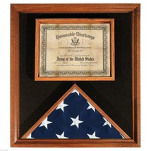 USA MADE SOLID WOOD FLAG AND DOCUMENT DISPLAY CASE CHERRY FINISH  SHADOW... - $234.64