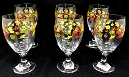 Lot 6 Water Goblet Iced Tea Glass Royal Norfolk Fall Leaves & AcornsNew ... - $49.99