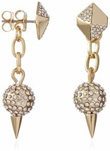NEW Fragments Gold Plated Pave Crystal Pyramid with Fireball Drop Earrings