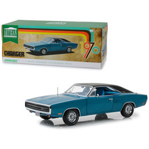 1970 Dodge Charger 500 Blue with Black Top 1/18 Diecast Model Car by Gre... - $81.36