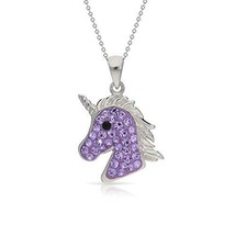 Mythical Purple Crystal Unicorn Pendant Necklace Never Rust 925 Sterling... - €37,58 EUR