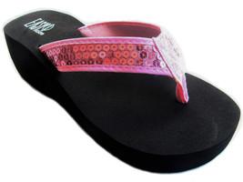 Womens Sequined Sandals Flip Flops Platform Wedge EVA Thongs - $18.00
