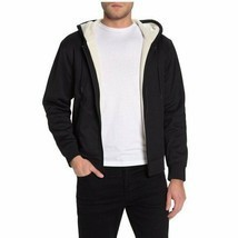 Vince Faux Shearling Lined Zip Hoodie ,Black Sz S - $222.74