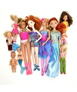 Lot of 11 Dolls Miscellaneous Merida Mermaid Kelly Doll Mattel With Clothes - $41.08