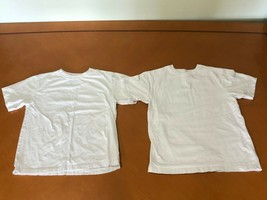 Lot of 2 Boys Kids Children's Place Solid White T-Shirts Size M 7/8 100%... - $9.89