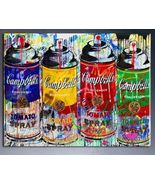 "Mr Brainwash Print on Canvas Campbell's soup Graffiti art decor 24x32"" - $34.65"