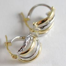 White Gold Earrings 18k 750 Yellow Circle, alternating Wave, processed, Italy image 3