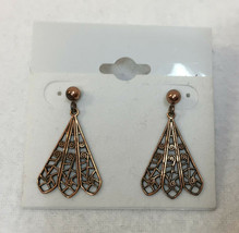 Earrings Filigree Fans Cut Out Copper Plated Metal Pair Ornate Studs Dan... - $9.89