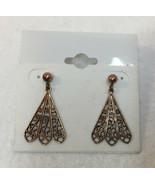Earrings Filigree Fans Cut Out Copper Plated Metal Pair Ornate Studs Dan... - $9.89