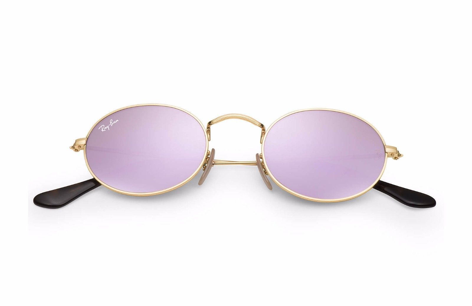 6c47326a61 Authentic Ray Ban RB3547-N 001 8O Oval Gold Lilac Mirrored Lens Sunglasses  51mm