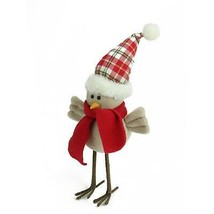 "Northlight 10"" Cream Standing Bird Scarf Plaid Hat Christmas Table Decor - $9.64"