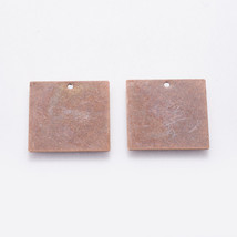 5 Metal Stamping Blanks Square Pendants Antiqued Copper Tone Brass Charms - $4.97