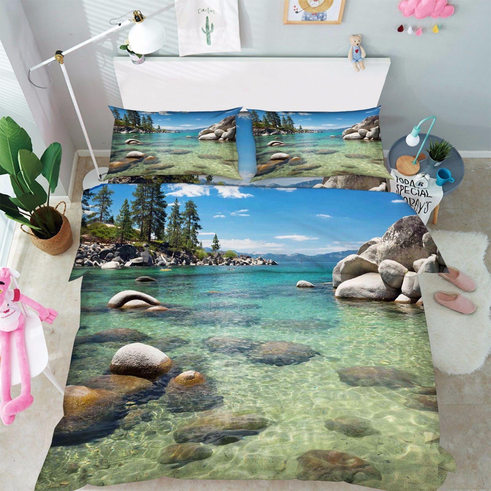 3D Sea Bay Stone Bed Pillowcases Quilt Duvet Cover Set Single Queen King Size AU - $64.32 - $96.47