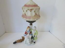 VTG ANDREA PORCELAIN FIGURAL HURRICANE LAMP MAN & WOMAN EDWARDIAN W/GLOB... - £14.47 GBP