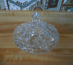 Anchor Hocking glass lidded dish, Early American Prescut, Star of David - $17.50