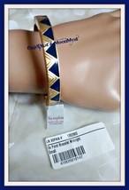 Lia Sophia ON POINT stretch bracelet matte gold-tone w midnight blue triangles - $14.95