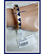 Lia Sophia ON POINT stretch bracelet matte gold-tone w midnight blue tri... - $14.80