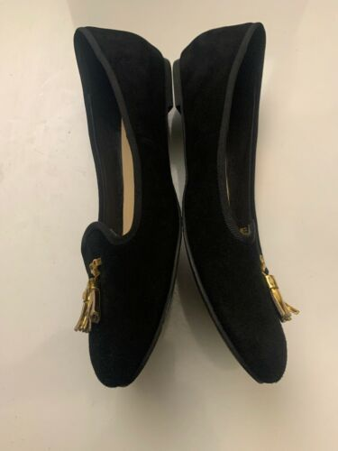 New Cole Haan Women's Black Felt Slip-On Loafers 9.5 B Gold Tassels Shoes image 6