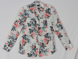 Talbots blouse XS size Multi Color Floral Womens Career Casual Top Cotton Shirt - $21.04