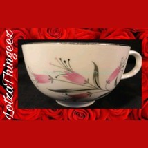 Homer Laughlin RY356 China Pink Flowers Gray Black Leaves 9 Saucers 8 cups - $30.95