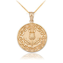 14K Solid Gold Scottish Thistle Medallion Pendant Necklace - $239.99+
