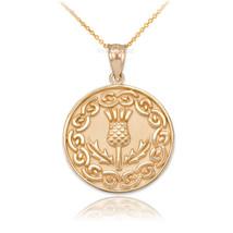 14K Solid Gold Scottish Thistle Medallion Pendant Necklace - $239.99+