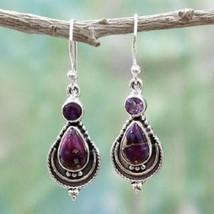 Women Boho Purple Copper Turquoise Hook Earrings 925 Silver Dangle Earring - $2.40