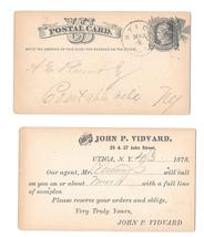 UX5 Utica NY 1878 Fancy Cancel Radial Wedges Pre-printed John P Vidyard Merchant - $14.95