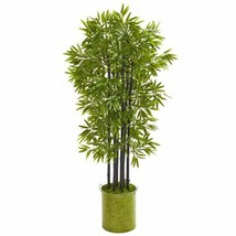 """Multicolor 57"""" Bamboo Artificial Tree with Black Trunks in Green Planter UV Resi - $220.80"""