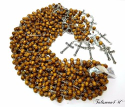 12 x OLIVE WOOD ROSARY NECKLACE ROUND BEADS CROSS CRUCIFIX JERUSALEM SOI... - $43.51