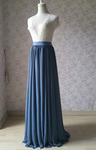 Women DUSTY BLUE Chiffon Maxi Skirt High Waist Maxi Chiffon Wedding Skirt image 3