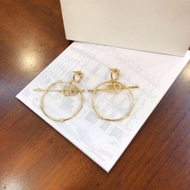Authentic Christian Dior 2019 CD LOGO LARGE CIRCLE HOOP DANGLE DROP Earrings image 3